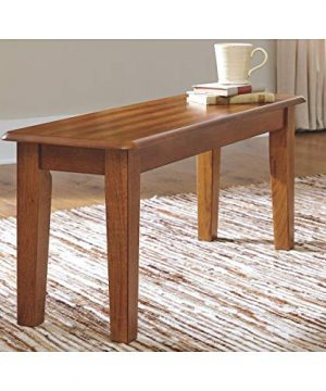 Large Dining Room Bench Brown Farmhouse Wood Chestnut Finish 0 300x360