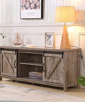 Lipo Farmhouse Modern Wood TV Stand Console With Storage Cabinet Doors And Shelves Entertainment Center For Living Room Bedroom Gray Wash 0 300x360