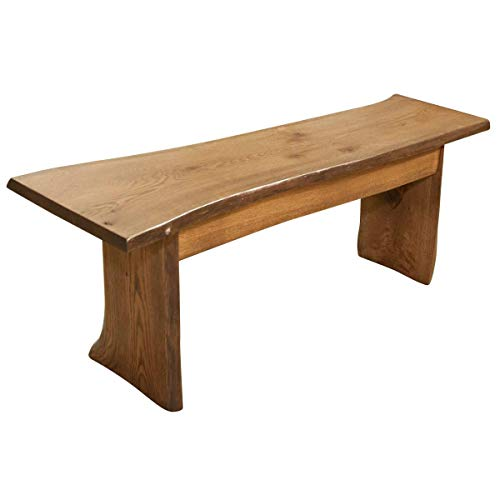 Live Edge Wooden Bench Solid Wood Dining Bench Rustic Home Decor Furniture Natural Edge Wooden Slab Bench 4 Long Oak Wood With Cappuccino Stain 0 1