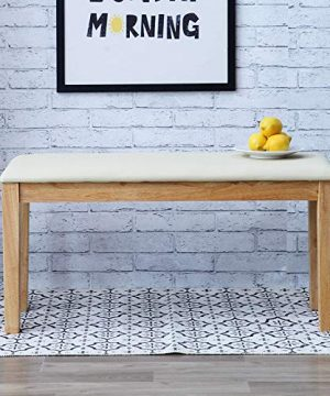 Livinia Calvin 374 Dining Bench Upholstered Padded Cushion Seat Piano Stool With Solid Wood LegsNatural 0 300x360