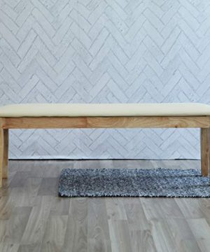 Livinia Calvin 551 Dining Bench Upholstered Padded Cushion Seat Piano Stool With Solid Wood Legs Natural 0 300x360