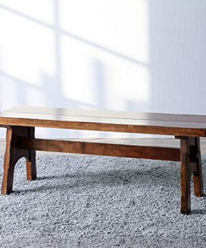 Livinia Classic Sheraton Dining Room Bench Luxurious Solid Hardwood Rubberwood Bench Oak Color For Two 0 300x360