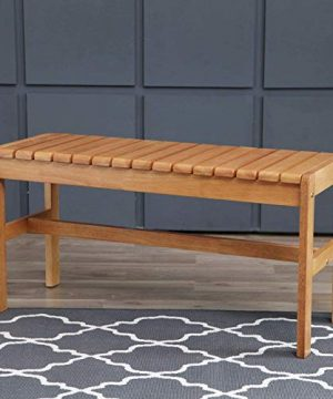 Livinia Sapphire Dining Room Bench Classic Multifunctional Solid Hardwood Rubberwood Bench For Two Oak 0 300x360