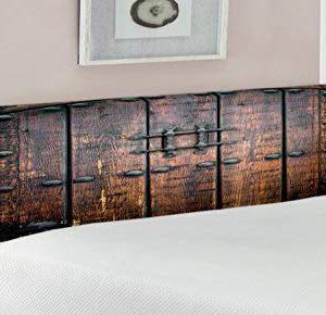 Lunarable Rustic Headboard Wooden Door Historical Vintage Exterior Medieval Structure Print Upholstered Decorative Metal Bed Headboard With Memory Foam Queen Size Black Brown 0 300x290