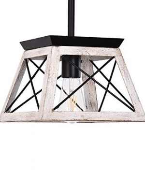 Luupyia Farmhouse Pendant Light Fixture Adjustable Single Hanging Light Square Rustic Chandelier Lighting Farmhouse Island Lighting Fixtures For Dining Room Entryway And Living Room Beige 0 300x360