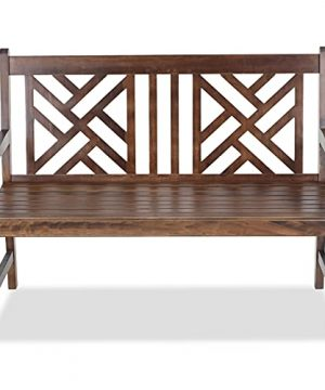 MFSTUDIO Outdoor Wooden Patio BenchTwo Person Loveseat Chair In Porch Balcony Garden469 L X 197 W X 354 HBrown 0 300x360