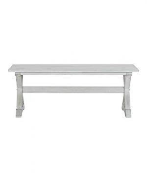 MISC Farmhouse Distressed White Dining Bench Wood 0 300x360