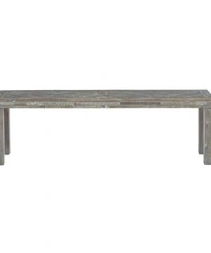 MISC Morning Star Solid Wood Dining Bench In Rustic Latte Grey Farmhouse Washed 0 300x360