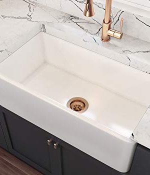 MOCCOA 33 Venezia Fireclay Kitchen Sink Reversible Single Bowl Farmhouse Sink White 0 300x350