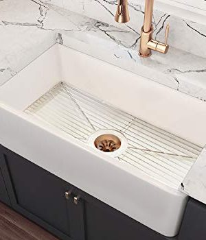 MOCCOA 36 Brescia Authentic Fireclay Apron Front Farmhouse Single Bowl Sink With Grid White 0 300x350