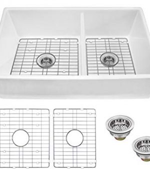MSFC6040PLNGR 33 Apron Front Farmhouse 6040 Double Bowl Fireclay Kitchen Sink With Grid Sets And Drain Assemblies 0 300x360