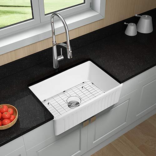 Miyili 30 Inch Farmhouse Kitchen Sink Apron Front White Ceramic Porcelain Fireclay Deep Single Bowl Farm Kitchen Sinks S7645W 0 2