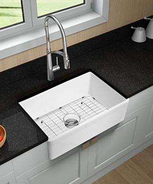 Miyili 30 Inch Farmhouse Kitchen Sink Apron Front White Ceramic Porcelain Fireclay Deep Single Bowl Farm Kitchen Sinks S7645W 0 3 300x360