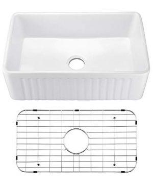 Miyili 30 Inch Farmhouse Kitchen Sink Apron Front White Ceramic Porcelain Fireclay Deep Single Bowl Farm Kitchen Sinks S7645W 0 300x360