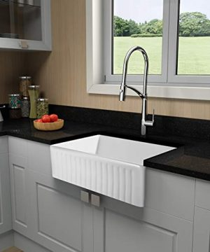 Miyili 30 Inch Farmhouse Kitchen Sink Apron Front White Ceramic Porcelain Fireclay Deep Single Bowl Farm Kitchen Sinks S7645W 0 4 300x360