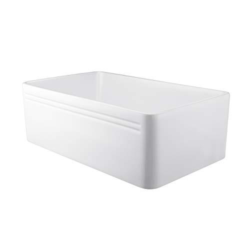 Miyili 30 Inch Farmhouse Kitchen Sink Apron Front White Ceramic Porcelain Fireclay Deep Single Bowl Farm Kitchen Sinks S7645W 0 5