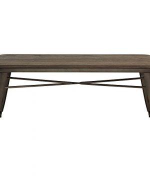 MyChicHome Raleigh Rustic Industrial Metal Body Wooden Seat Bench Entryway Indoor Outdoor Patio Garden Dining In Gunmetal 0 300x360