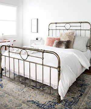 New Queen Size Metal Pipe Bed Frame With Headboard And Footboard 0 300x360