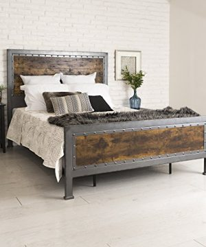 New Rustic Queen Industrial Wood And Metal Bed Includes Head And Footboard 0 300x360