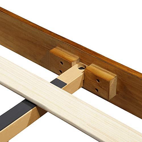 Olee Sleep VC40SF03K 14 Inch Deluxe Solid Platform HeadboardWood Bed Frame King Natural 0 3