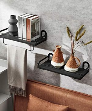 Ophanie Floating Shelves Wall Mounted Set Of 2 Rustic Wood Wall Storage Shelves Organizer For Kitchen Bathroom 4 S Shape Hooks Included 0 300x360
