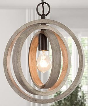 Optimant Lighting Farmhouse Wood Orb Pendant Light Rotatable Globe Hanging Lighting Fixture With Antique White Dots Finish For Kitchen Island Dining Room Living Room Entryway Stairway 0 300x360