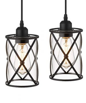 Osimir Industrial Pendant Light 2 Pack Mini Glass Pendant Light For Kitchen Cage Pendant Lighting In Black Finish With Clear Glass Adjustable Length CH9176 1 2PK 0 300x360