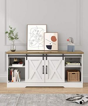 POVISON TV Stand Farmhouse Entertainment Center With Storage Television Stands For TVs Up To 65 Wood TV Console Storage Cabinet For Living Room White Rustic 0 300x360