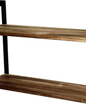 Peters Goods 2 Tier Modern Rustic Floating Wall Shelves Wall Mounted Wood Shelf For Display Books Storage Decor For Bathroom Office Living Room Bedroom Laundry Kitchen Rustic Brown 0 300x360