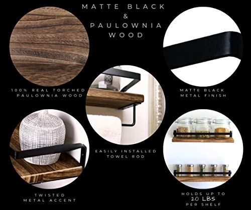 Peters Goods Rustic Floating Wall Shelves With Rails Decorative Storage For Kitchen Bathroom And Bedroom Elegant Modern Shelving Torched Paulownia Wood Matte Black Metal Frame Set Of 2 0 2