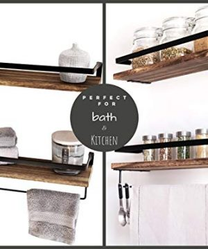 Peters Goods Rustic Floating Wall Shelves With Rails Decorative Storage For Kitchen Bathroom And Bedroom Elegant Modern Shelving Torched Paulownia Wood Matte Black Metal Frame Set Of 2 0 3 300x360