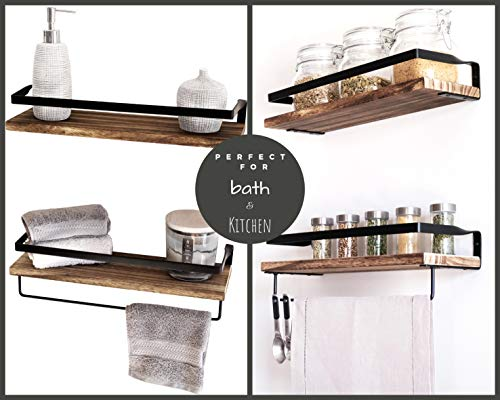 Peters Goods Rustic Floating Wall Shelves With Rails Decorative Storage For Kitchen Bathroom And Bedroom Elegant Modern Shelving Torched Paulownia Wood Matte Black Metal Frame Set Of 2 0 3