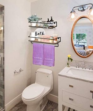QEEIG Floating Shelves For Bathroom Farmhouse Wall Shelf With Towel Bar Over Toilet Kitchen Mounted Shelve Small Hanging Shelving Set Of 2 Shelfs Rustic Brown 0 1 300x360