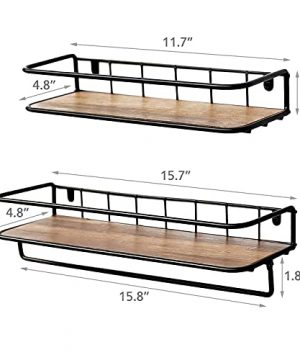 QEEIG Floating Shelves For Bathroom Farmhouse Wall Shelf With Towel Bar Over Toilet Kitchen Mounted Shelve Small Hanging Shelving Set Of 2 Shelfs Rustic Brown 0 2 300x360