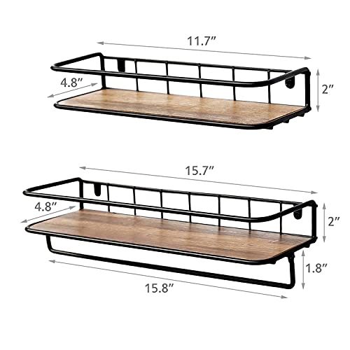 QEEIG Floating Shelves For Bathroom Farmhouse Wall Shelf With Towel Bar Over Toilet Kitchen Mounted Shelve Small Hanging Shelving Set Of 2 Shelfs Rustic Brown 0 2