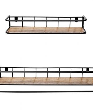 QEEIG Floating Shelves For Bathroom Farmhouse Wall Shelf With Towel Bar Over Toilet Kitchen Mounted Shelve Small Hanging Shelving Set Of 2 Shelfs Rustic Brown 0 3 300x360