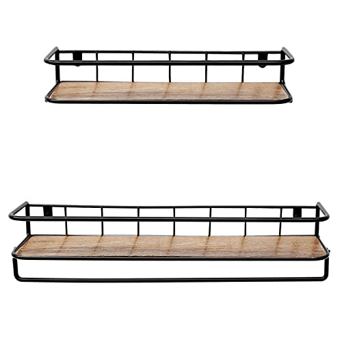 QEEIG Floating Shelves For Bathroom Farmhouse Wall Shelf With Towel Bar Over Toilet Kitchen Mounted Shelve Small Hanging Shelving Set Of 2 Shelfs Rustic Brown 0 3