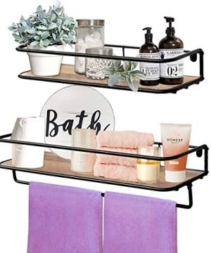 QEEIG Floating Shelves For Bathroom Farmhouse Wall Shelf With Towel Bar Over Toilet Kitchen Mounted Shelve Small Hanging Shelving Set Of 2 Shelfs Rustic Brown 0 300x360