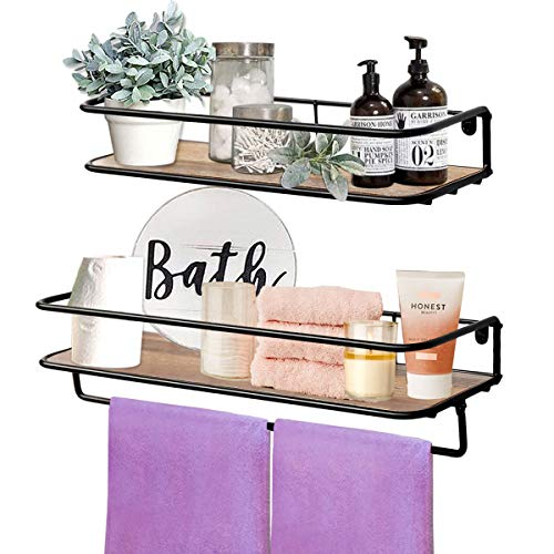 QEEIG Floating Shelves For Bathroom Farmhouse Wall Shelf With Towel Bar Over Toilet Kitchen Mounted Shelve Small Hanging Shelving Set Of 2 Shelfs Rustic Brown 0
