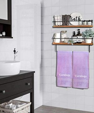 QEEIG Floating Shelves For Bathroom Wall Shelf With Towel Bar Over Toilet Walls Mounted Shelfs Kitchen Small Shelfslves Farmhouse Restroom Hanging Shelving Set Of 2 Rustic Brown FS636 0 0 300x360