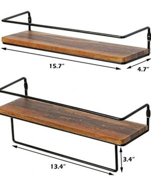 QEEIG Floating Shelves For Bathroom Wall Shelf With Towel Bar Over Toilet Walls Mounted Shelfs Kitchen Small Shelfslves Farmhouse Restroom Hanging Shelving Set Of 2 Rustic Brown FS636 0 3 300x360
