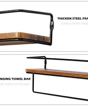 QEEIG Floating Shelves For Bathroom Wall Shelf With Towel Bar Over Toilet Walls Mounted Shelfs Kitchen Small Shelfslves Farmhouse Restroom Hanging Shelving Set Of 2 Rustic Brown FS636 0 4 300x360