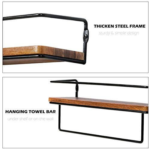 QEEIG Floating Shelves For Bathroom Wall Shelf With Towel Bar Over Toilet Walls Mounted Shelfs Kitchen Small Shelfslves Farmhouse Restroom Hanging Shelving Set Of 2 Rustic Brown FS636 0 4