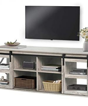 QLMUSE TV Console Farmhouse TV Stand For 65 Flat Screen Industrial Entertainment Center Media Cabinet With Storage Gray 0 300x360