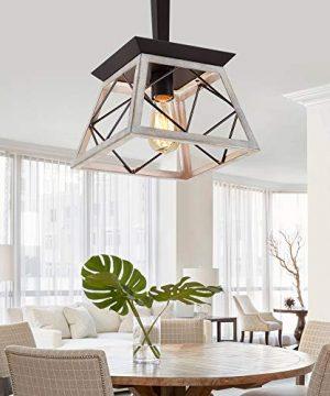 QS Farmhouse Pendant Light FixtureVintage Pendant Light ChandelierIndustrial Hanging LightingWrought IronOak And ORB 1 Light E26 0 0 300x360