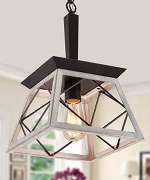 QS Farmhouse Pendant Light FixtureVintage Pendant Light ChandelierIndustrial Hanging LightingWrought IronOak And ORB 1 Light E26 0 300x360