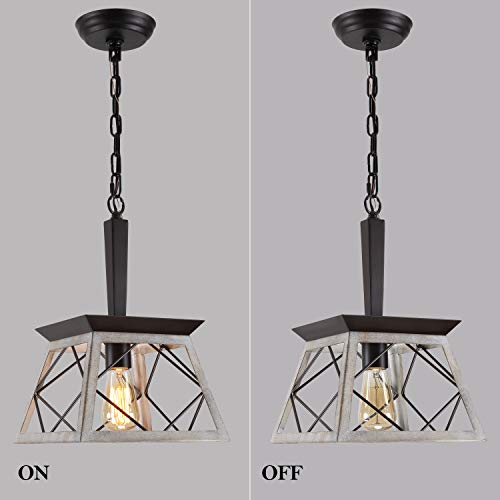 QS Farmhouse Pendant Light FixtureVintage Pendant Light ChandelierIndustrial Hanging LightingWrought IronOak And ORB 1 Light E26 0 5