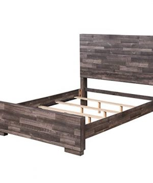 Queen Bed Frame HABITRIO Solid Pine Wood Wooden Composite Structure Queen Size Platform Bed Box Spring Needed Home Furniture For Bedroom Guest Room 0 300x360