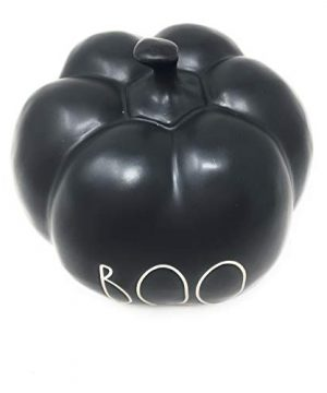 RAE DUNN BY MAGENTA Boo Black Ceramic LL Medium Size Decorative Halloween Pumpkin With White Letters 2020 Limited Edition 0 0 300x360