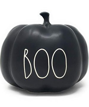 RAE DUNN BY MAGENTA Boo Black Ceramic LL Medium Size Decorative Halloween Pumpkin With White Letters 2020 Limited Edition 0 300x360
